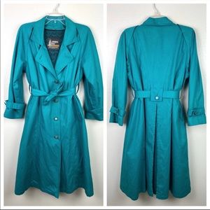 London Fog | Teal Vintage Button Trench Coat 10P